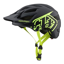 Image: TROY LEE A1 LE DRONE HELMET BLACK / FLUORO YELLOW MD-LG