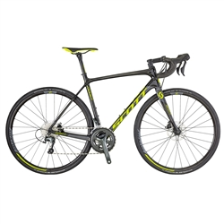 Image: SCOTT ADDICT 30 DISC 2018 BLACK / GREY / FLUORO YELLOW SMALL - 52