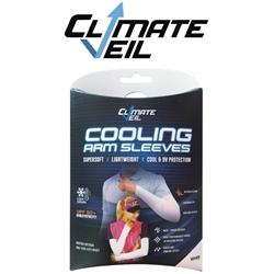 Image: CLIMATE VEIL  COOLING ARM SLEEVES UPF 50+ WHITE ONE SIZE