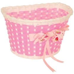 Image: GENERIC BASKET WITH STRAWBERRY BOW PINK / WHITE